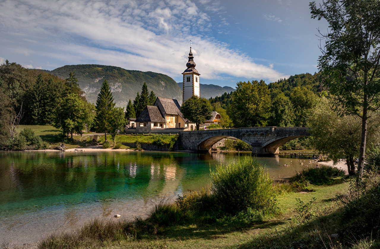 Picture Church Slovenia Triglav national Park, lake Bohinj Nature Bridges Lake Building bridge Houses