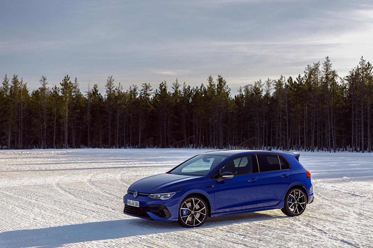 Desktop Wallpapers Volkswagen Estate car Golf R, Worldwide, 2020 Blue Snow auto Metallic Station wagon Cars automobile