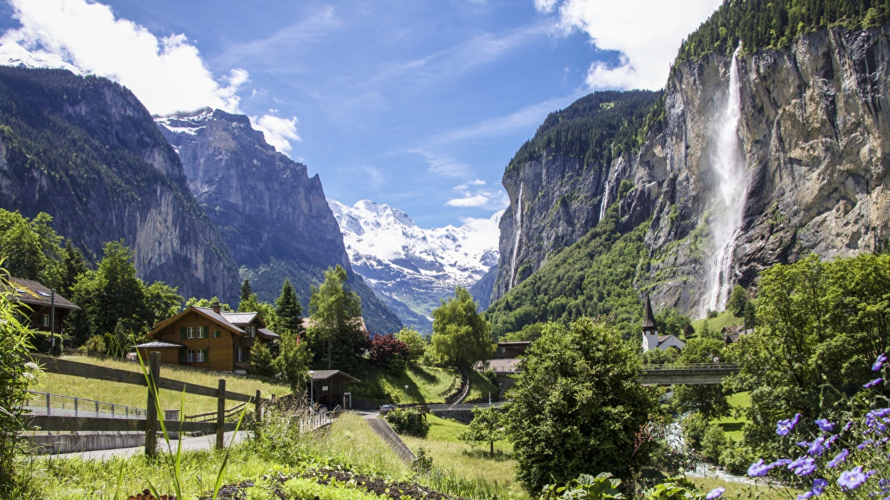 Photos Alps Switzerland Village Canton Bern, Staubbach Waterfall, Lauterbrunnen Rock Nature Mountains Waterfalls Crag Cliff mountain