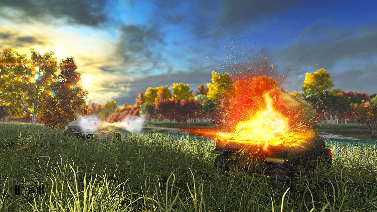 Achtergrond World of Tanks Tanks Explosie Schieten Computerspellen Gras tank schiet videogames computerspel