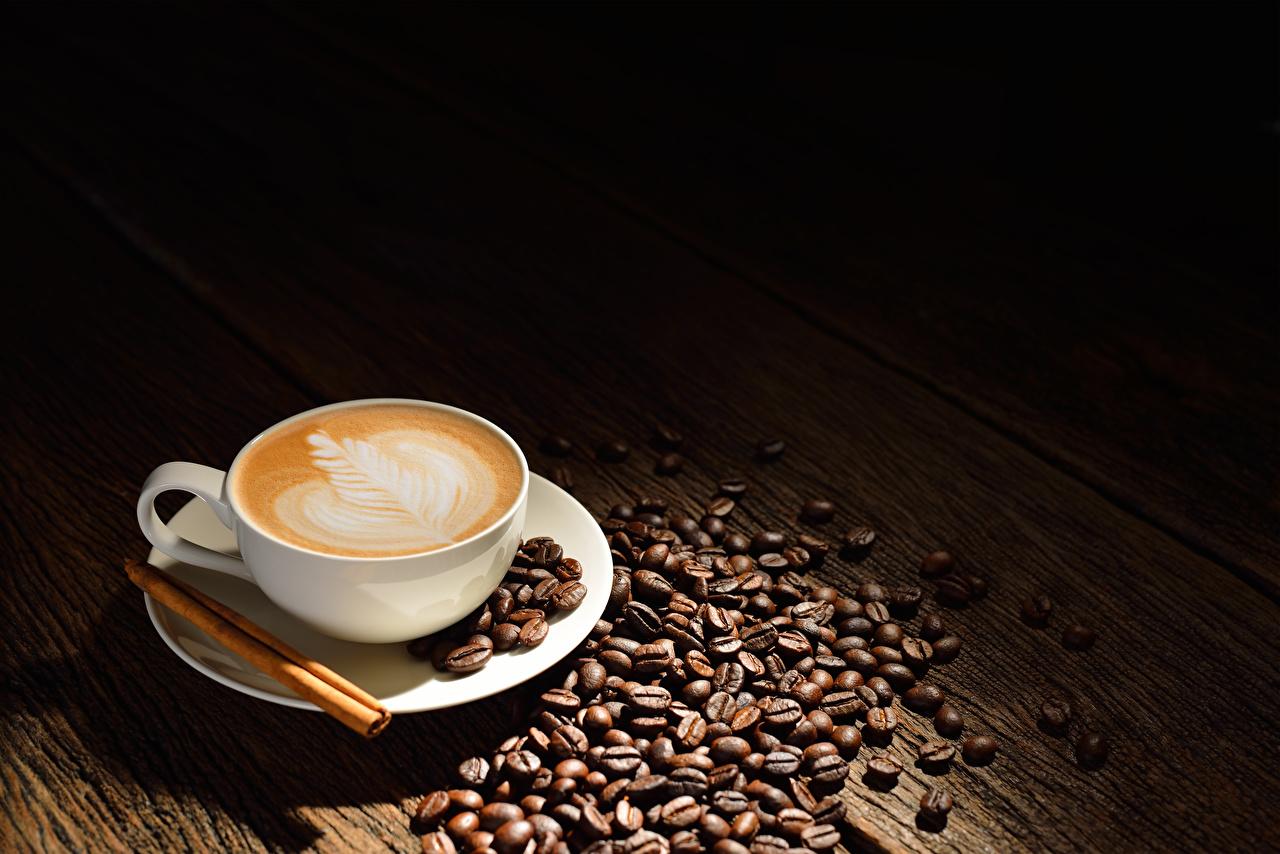 Fotos von Kaffee Cappuccino Zimt Getreide Tasse Lebensmittel