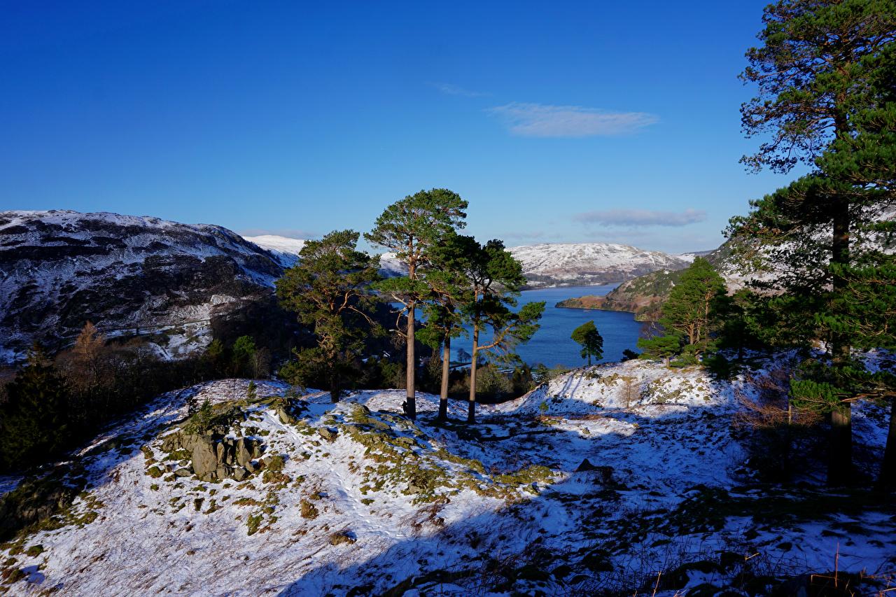 、イングランド、川、冬、Patterdale、丘、木、雪、自然