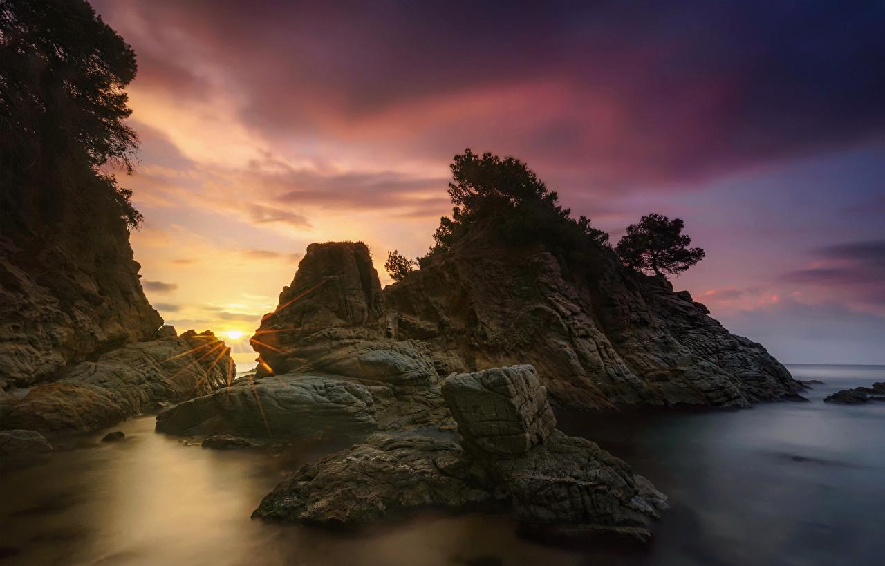Bilder Spanien Almeria Natur Felsen Sonnenaufgänge und Sonnenuntergänge Abend Steine