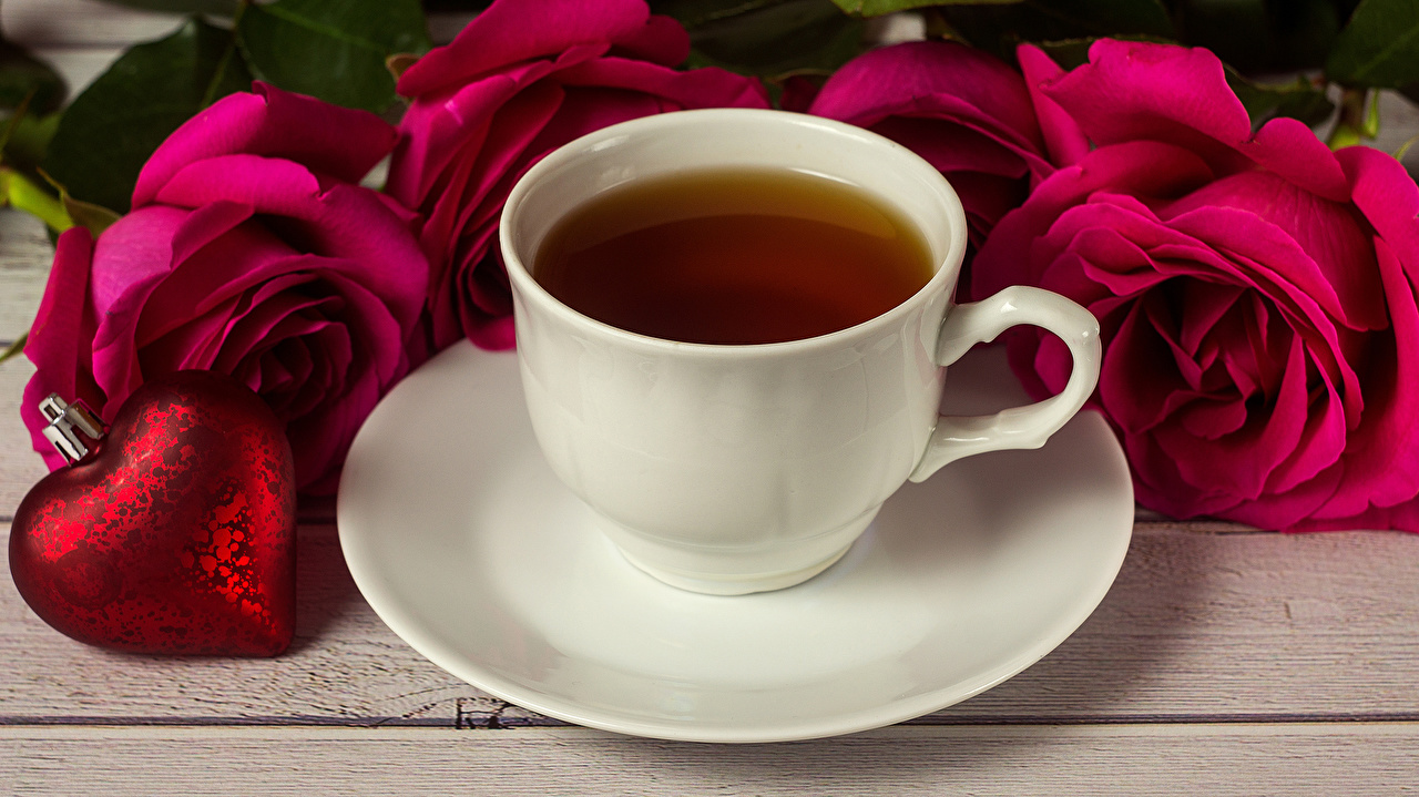 Wallpaper Valentine's Day Heart Tea Red Roses Cup Food Saucer rose