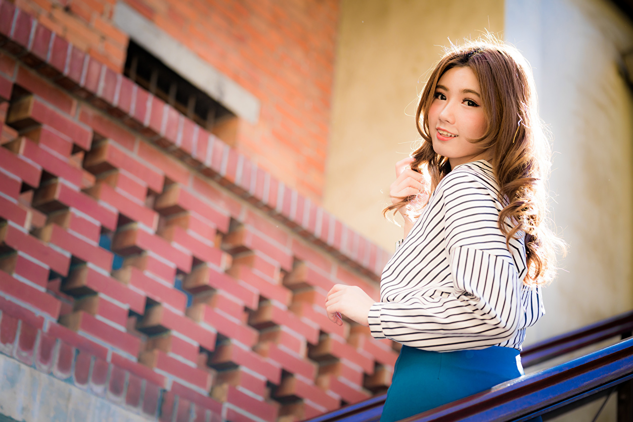 Image Brown haired blurred background sweet Blouse young woman Asiatic Staring Bokeh Cute lovely pretty Girls female Asian Glance
