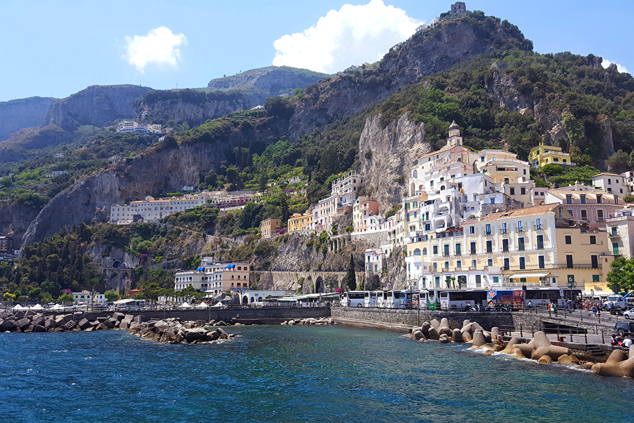 Wallpaper Amalfi Italy Mountains Coast Cities Building mountain Houses