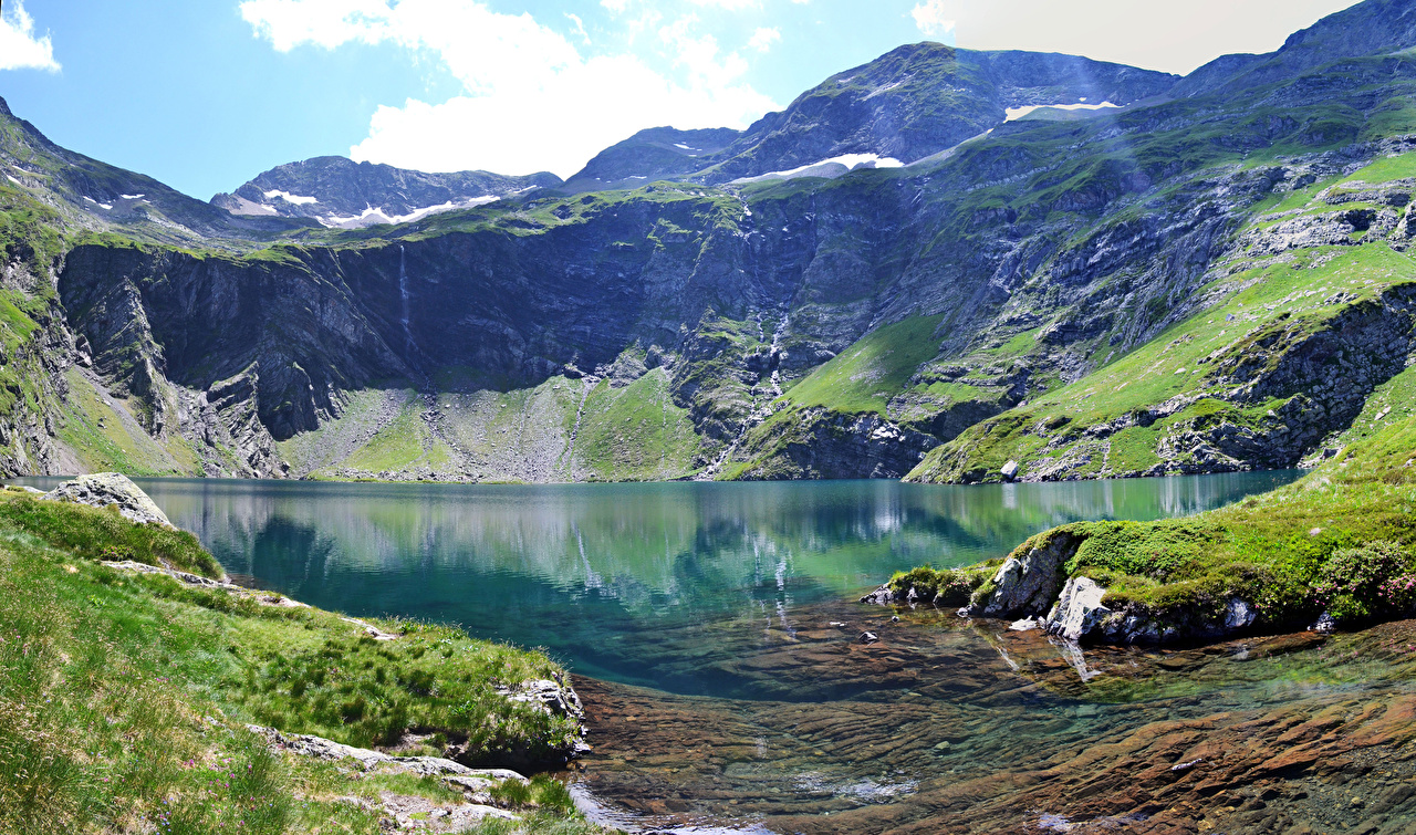 Photos Alps Italy Val Gardena Nature Mountains Lake Moss