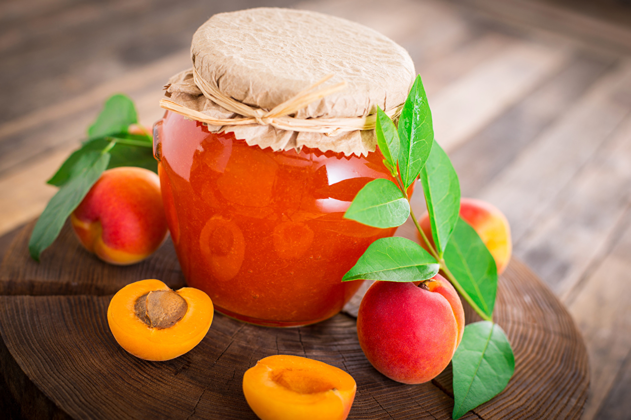 Desktop Wallpapers Apricot Fruit preserves Jar Food Jam Varenye