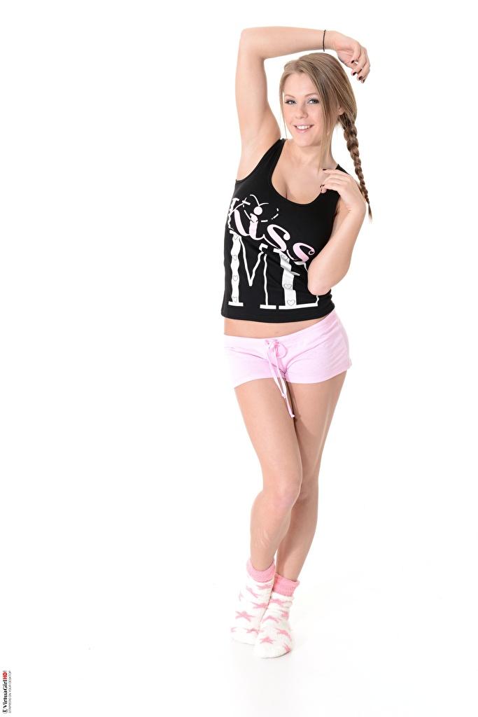 Picture Virtuagirlhd Viola O Bailey Dark Blonde Braid hair Smile posing Socks young woman Legs Sleeveless shirt Hands Shorts White background  for Mobile phone plait Pose Girls female Singlet
