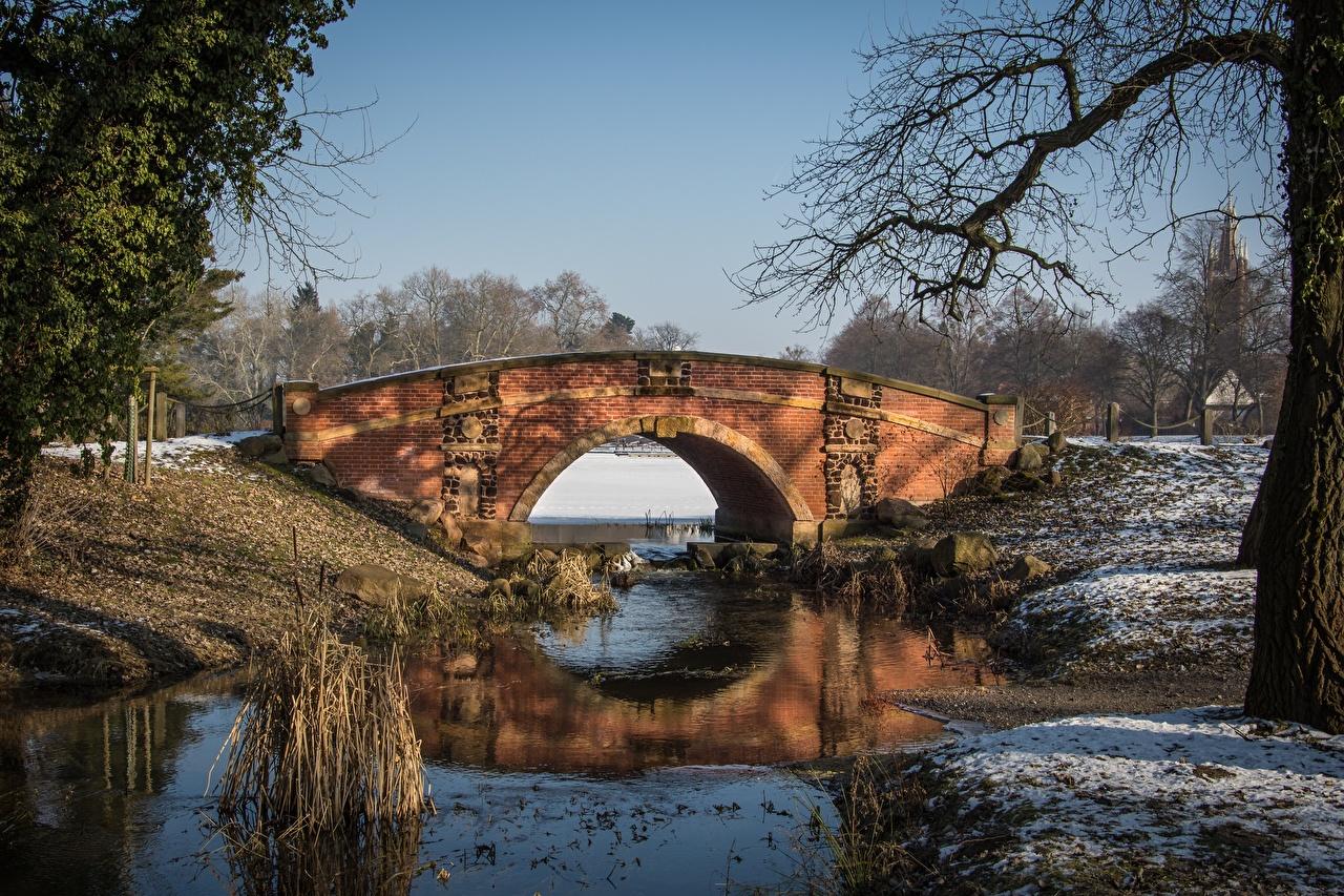 Photos Germany Winter bridge Parks Cities Bridges park