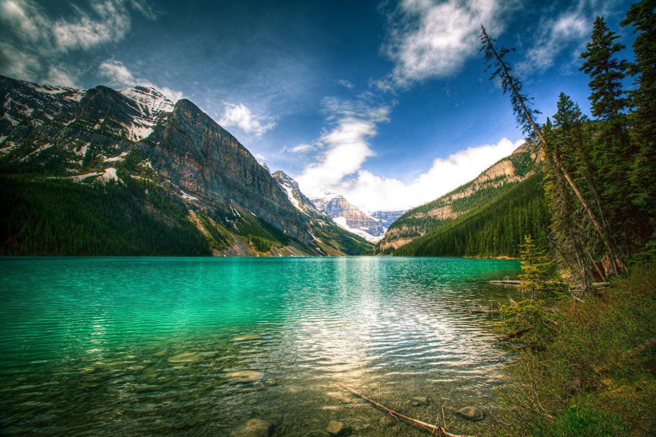 Image Banff Canada Louise HDRI Nature Mountains Sky Lake Scenery