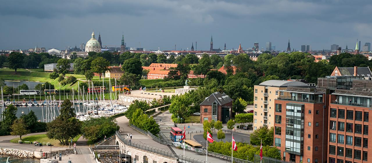 Tapety Kopenhaga Dania Przystań Miasta budynki Domy miasto budynek