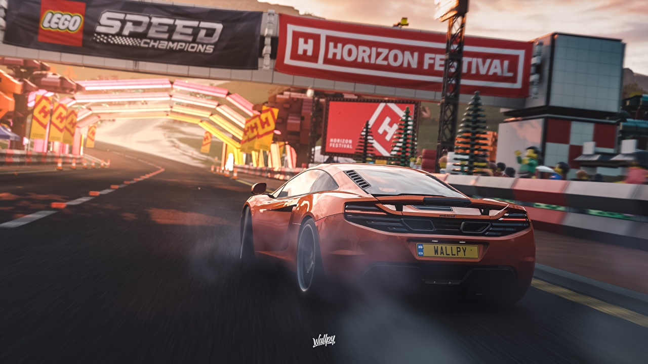 Images Forza Horizon 4 McLaren MP4-12C by Wallpy Orange 3D Graphics Games Back view automobile vdeo game Cars auto