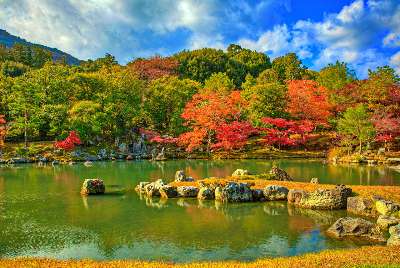 Wallpaper Kyoto Japan Tenryuji Temple park HDRI Autumn Nature Pond stone Trees HDR Parks Stones