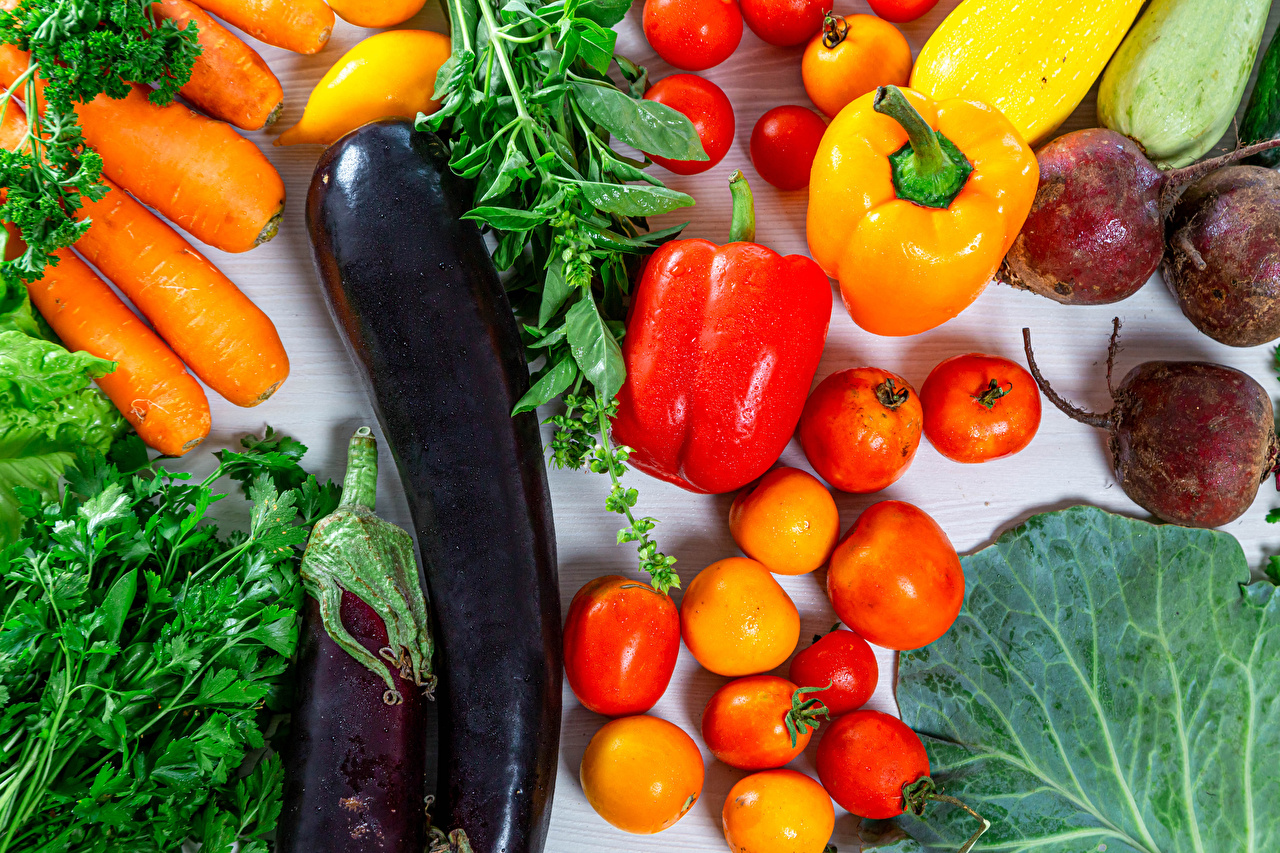 Фотография Свекла Томаты Морковь Баклажан Еда Овощи Перец