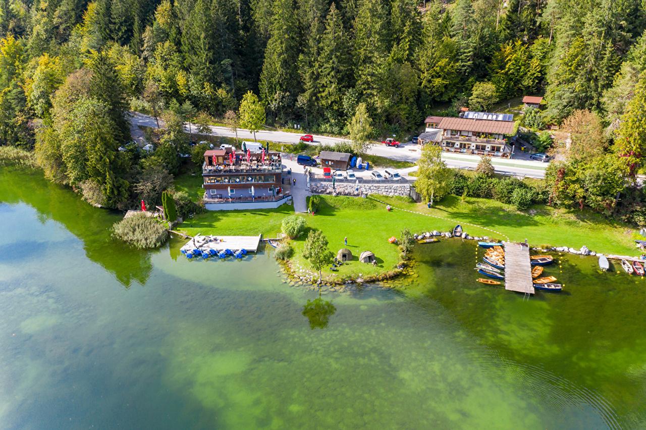 Áustria Lago Costa Casa Atracadouros Barcos Lake Reintaler Tyrol árvores Edifício, Píer Naturaleza