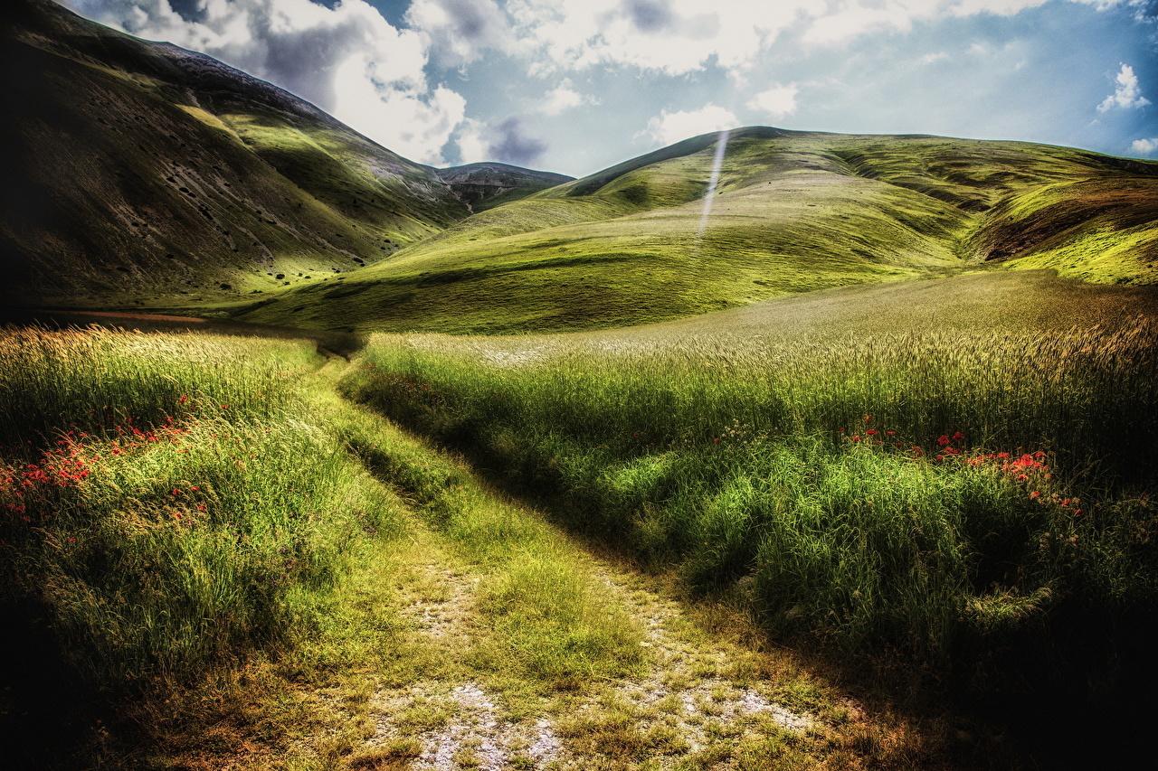 Bilder Berg Natur Sommar Väg fält Landskap vägar En åker landskapsfotografering
