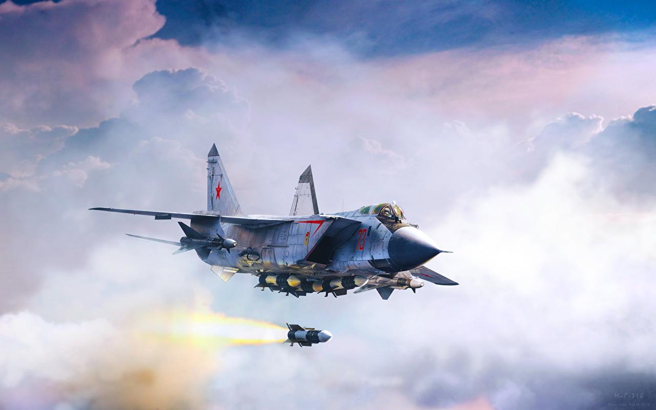 Foto Jagdflugzeug Flugzeuge Rakete Russische MiG-31B interceptor-fighter fires long-range R-33 missile Flug Gezeichnet Luftfahrt russisches russischer