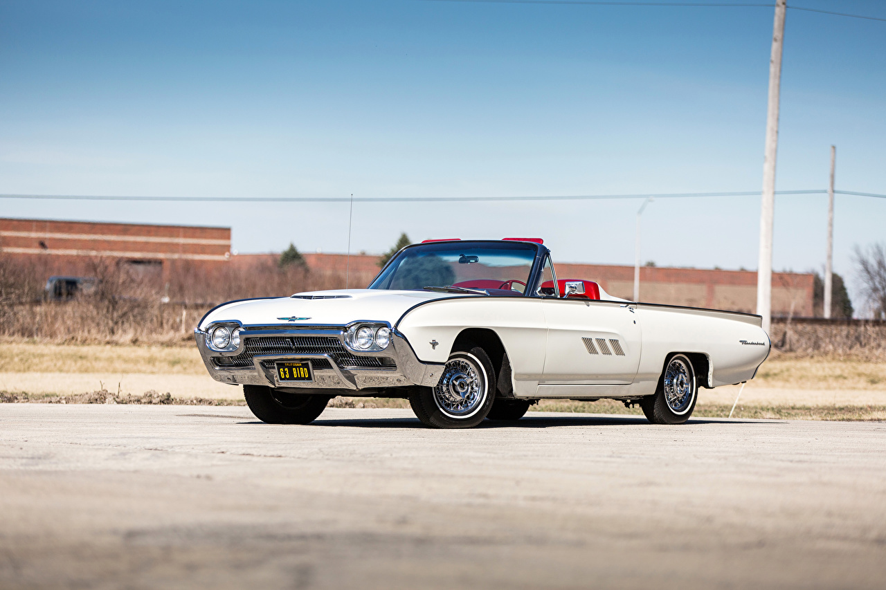 Pictures Ford 1963 Thunderbird 390-340 HP Sports Roadster Convertible Retro White automobile Cabriolet vintage antique Cars auto