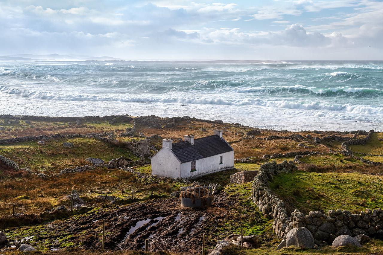 Pictures Ireland Brinlack, Donegal Nature Coast Stones Building stone Houses