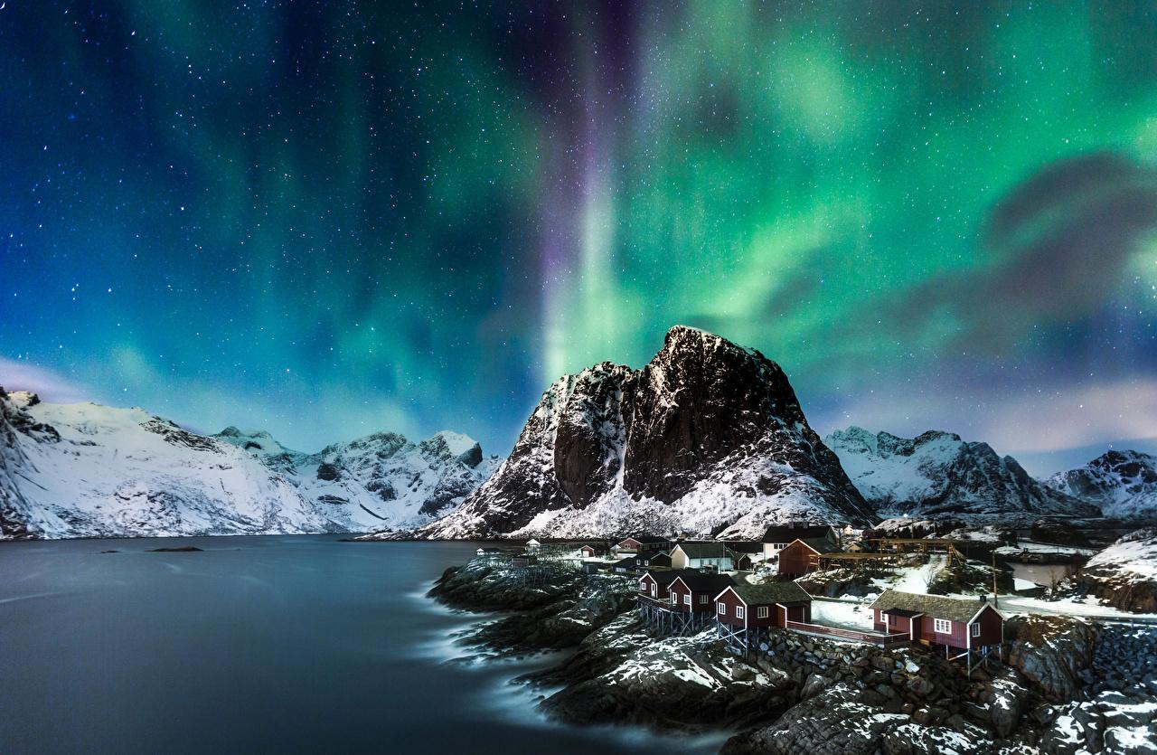 、風景写真、山、海岸、ロフォーテン諸島、ノルウェー、オーロラ、自然、
