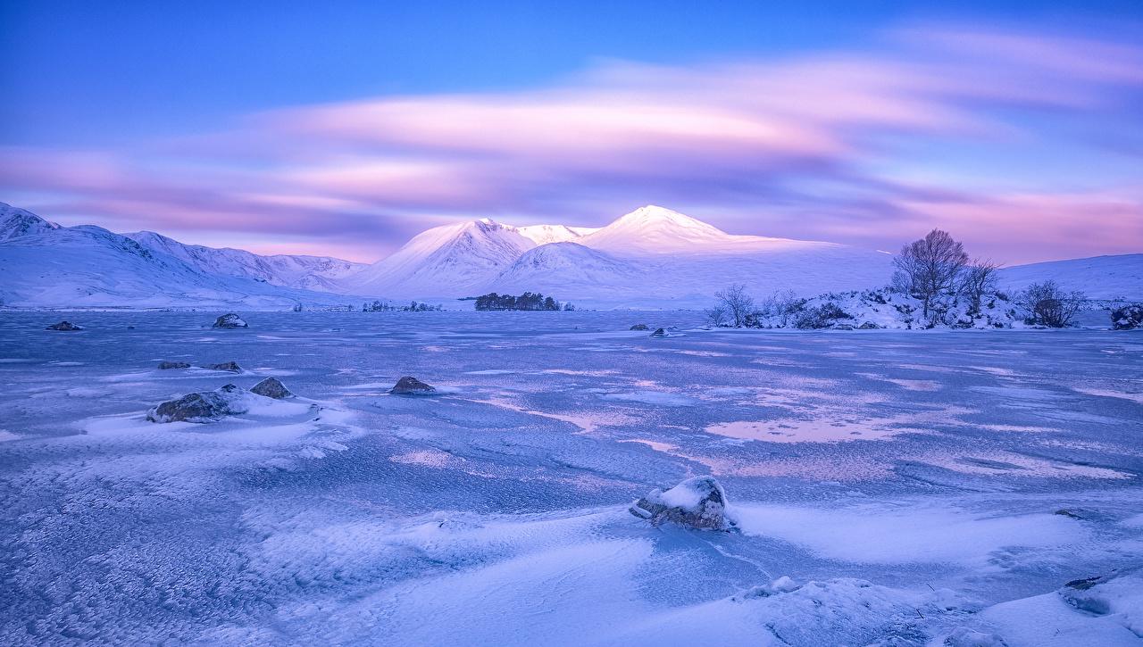 壁紙 スコットランド 冬 風景写真 山 空 Rannoch Moor 雪 自然