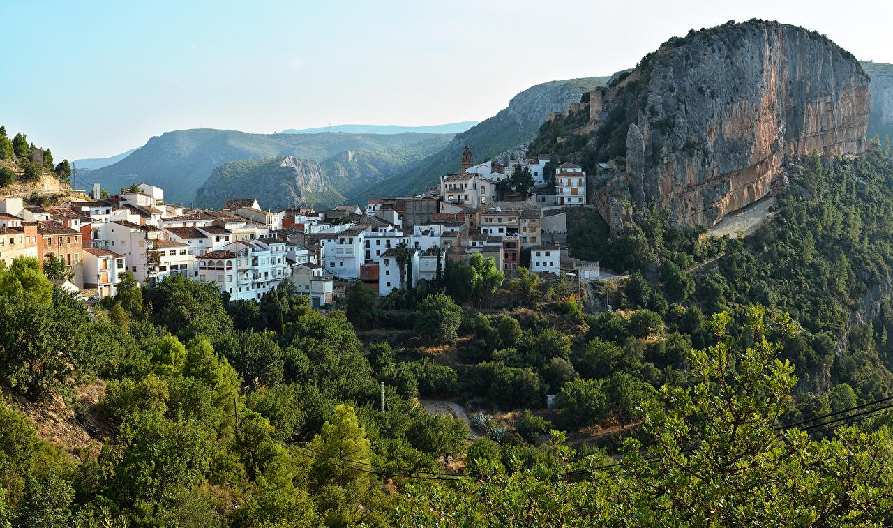 Foto Spanien Chulilla Felsen Haus Bäume Städte Gebäude