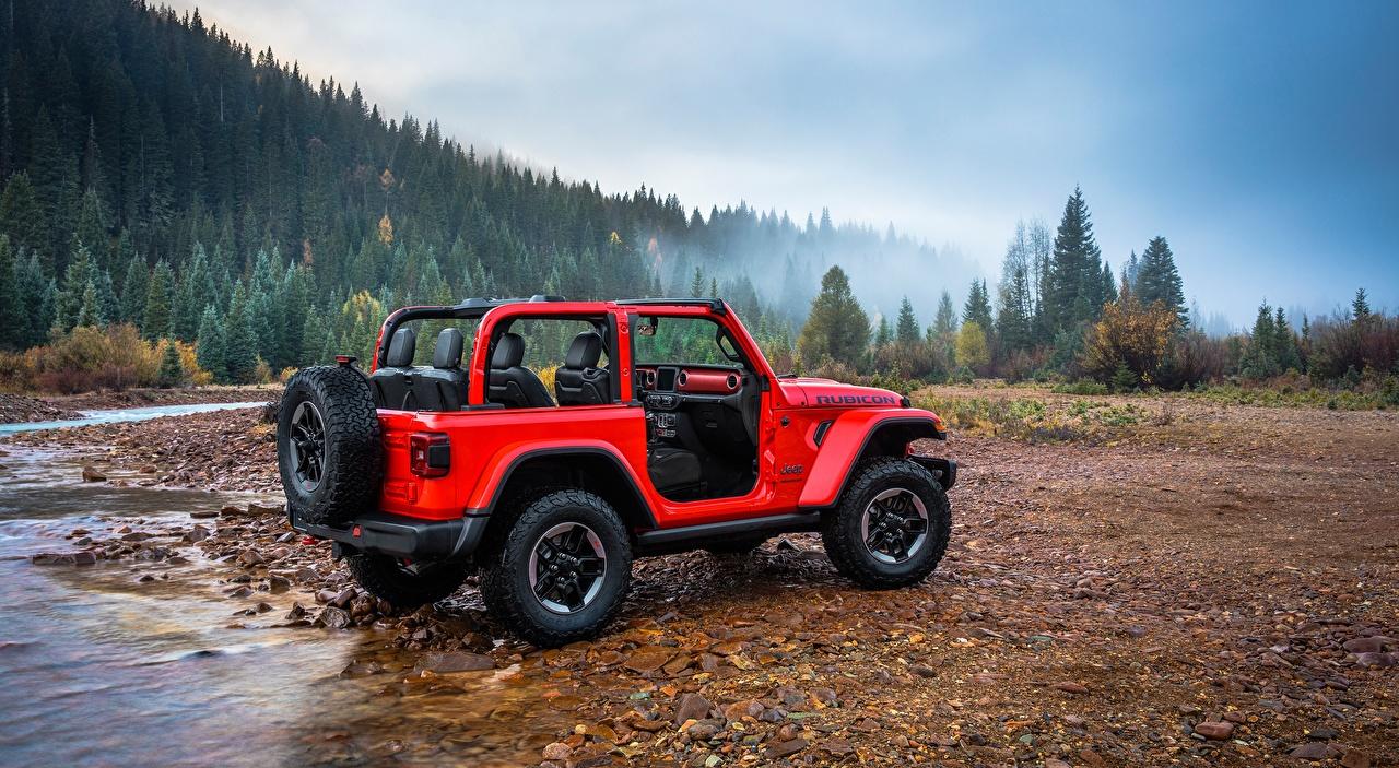Piedras Ríos Jeep Wrangler Rubicon, 2018 Rojo VUD autos, automóvil, automóviles, el carro, río, piedra, SUV, Vehículo utilitario deportivo Coches