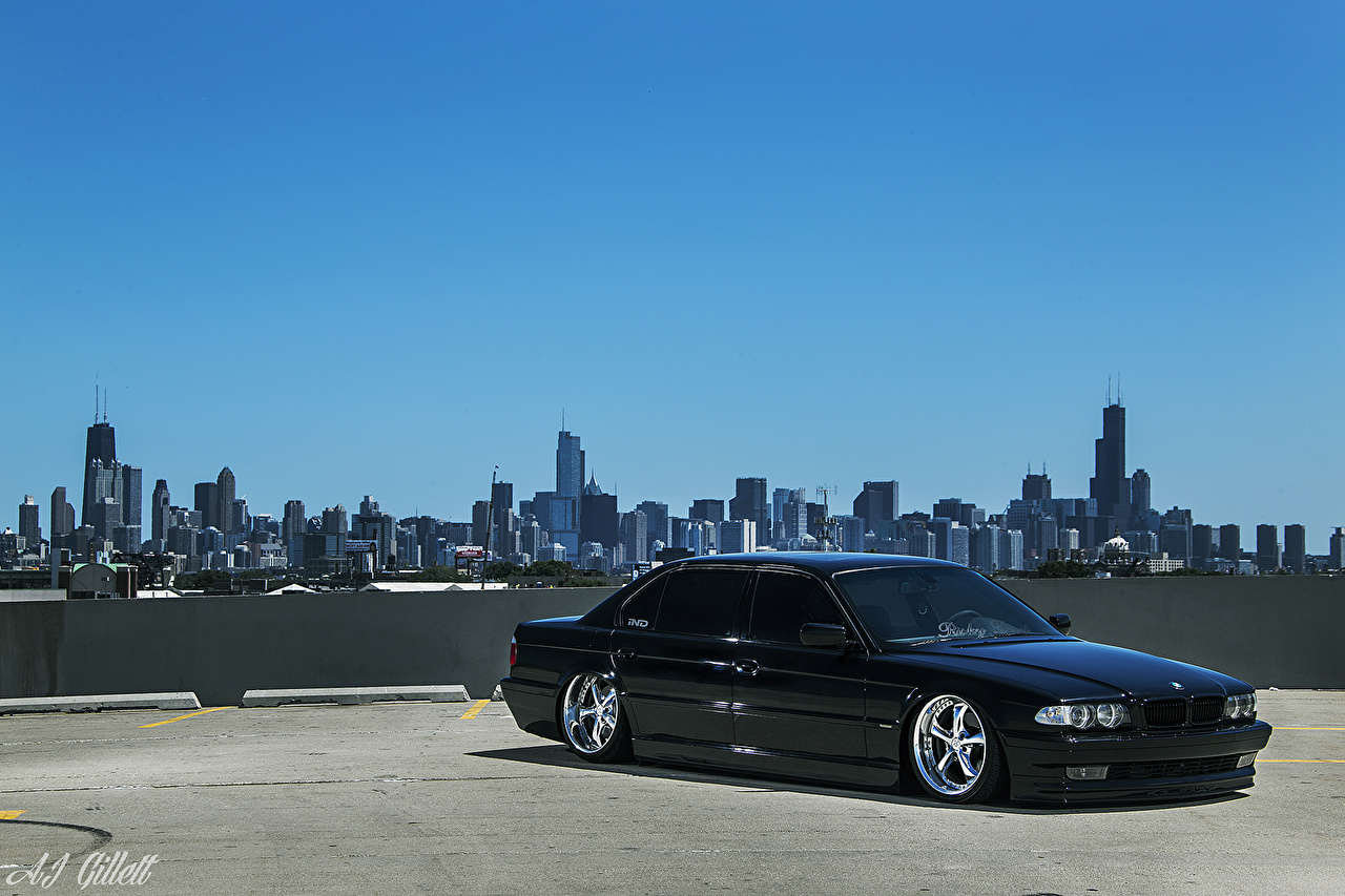 Images BMW Chicago city USA E38 Stance Sky auto Cities Cars automobile