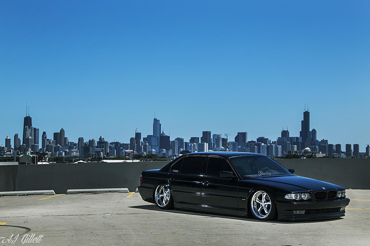 Sfondi del desktop BMW Chicago città stati uniti E38 Stance Cielo Auto Città USA macchine macchina automobile autovettura