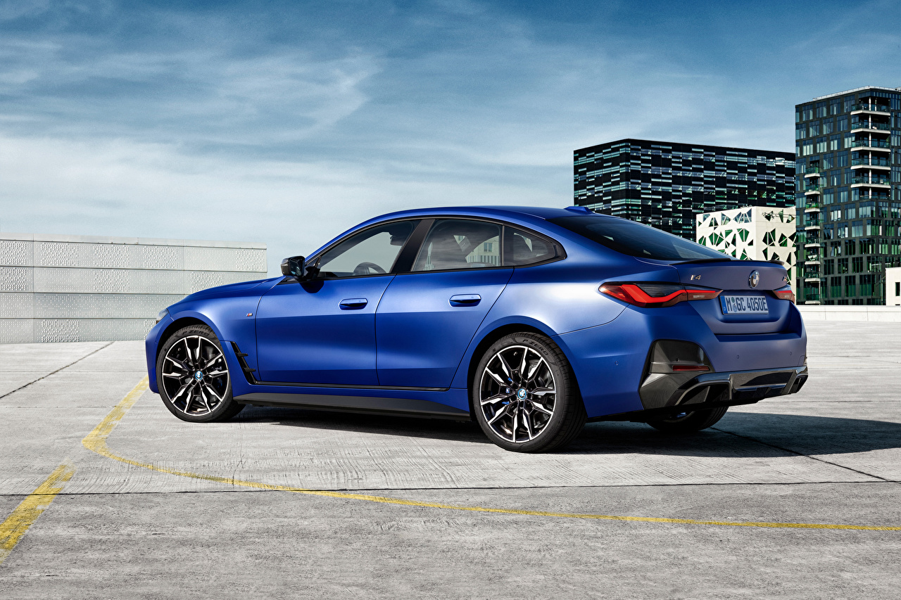 Photos BMW i4 M50, (Worldwide), (G26), 2021 Blue Metallic automobile Cars auto