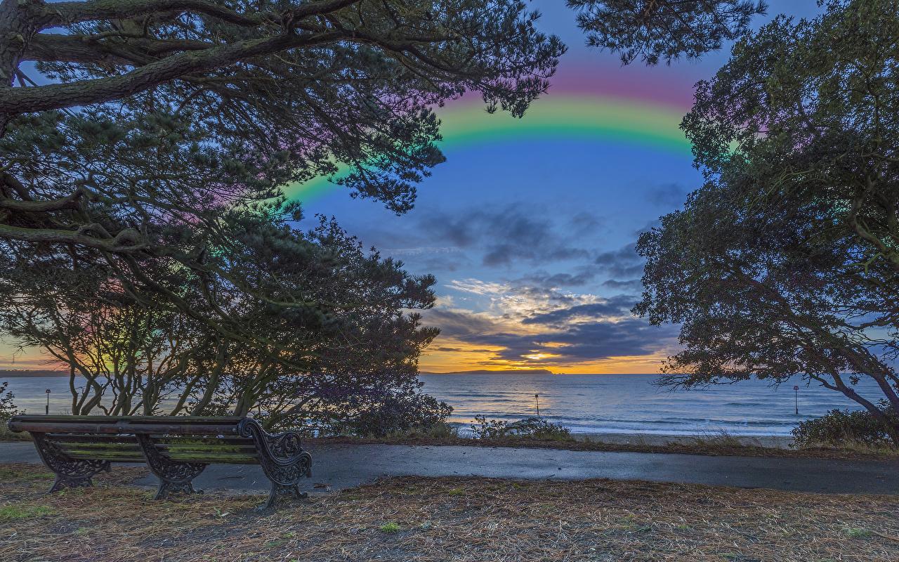 Hintergrundbilder England Christchurch Natur Regenbogen Sonnenaufgänge und Sonnenuntergänge Ast Küste Bank (Möbel)