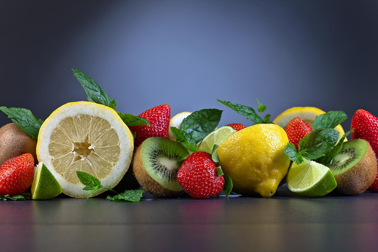 、果物、イチゴ、レモン、キウイ、、食べ物、食品、