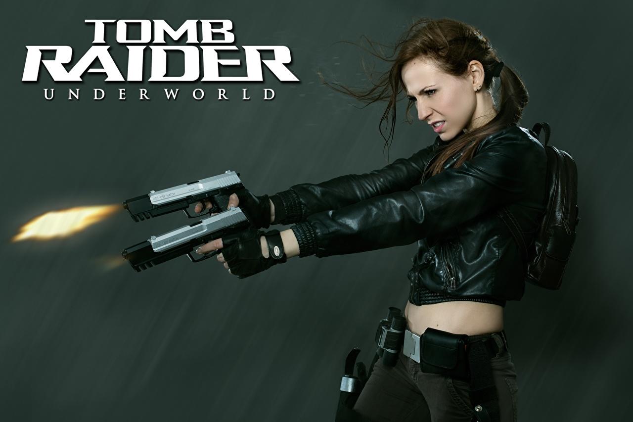 Foto Tomb Raider Underworld Schuss Pistole Lara Croft Cosplay Jacke junge frau Spiele Hand Pistolen Mädchens junge Frauen computerspiel