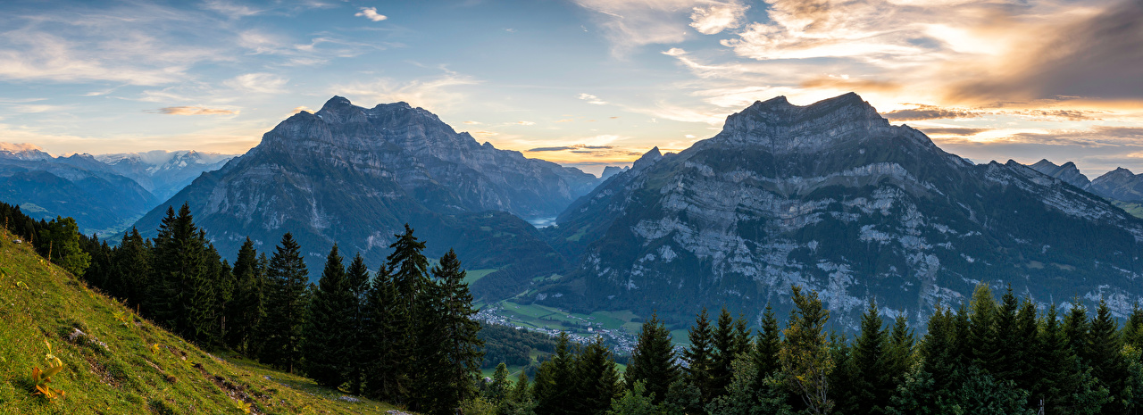 Wallpaper Nature Panorama Switzerland Glarus Alps Clouds Mountains landscape photography Spruce panoramic mountain Scenery