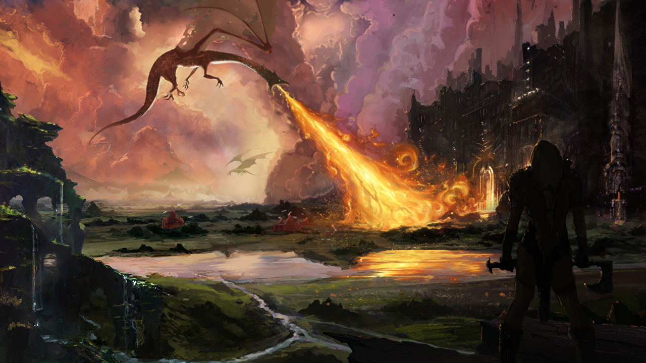 Picture The Hobbit Dragons warrior Fantasy film flame Battles dragon Warriors Fire Movies fighting