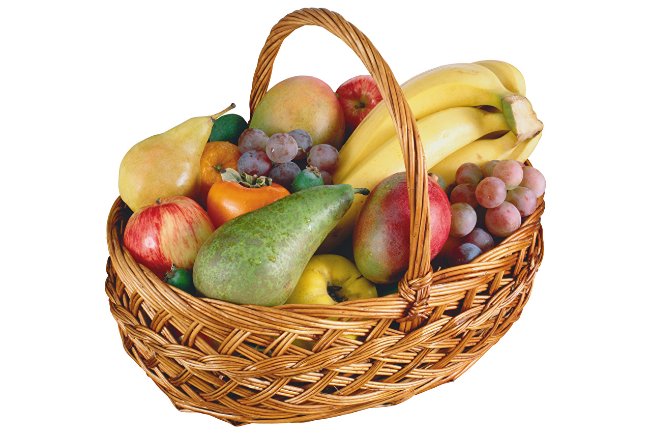 Pictures kaki Pears Grapes Apples Bananas Wicker basket Food Fruit White background Persimmon