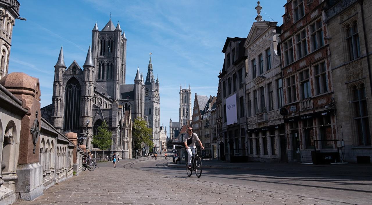 Fotos Gent Belgien fahrräder Straße Haus Städte Fahrrad Stadtstraße Gebäude