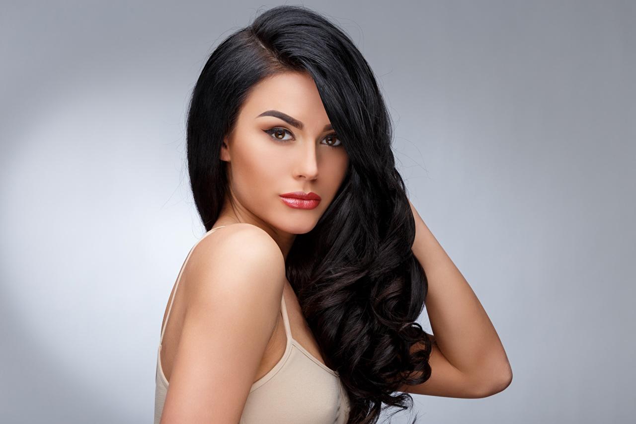 Desktop Wallpapers Brunette Girl Beautiful Hairdo Hair Girls Glance