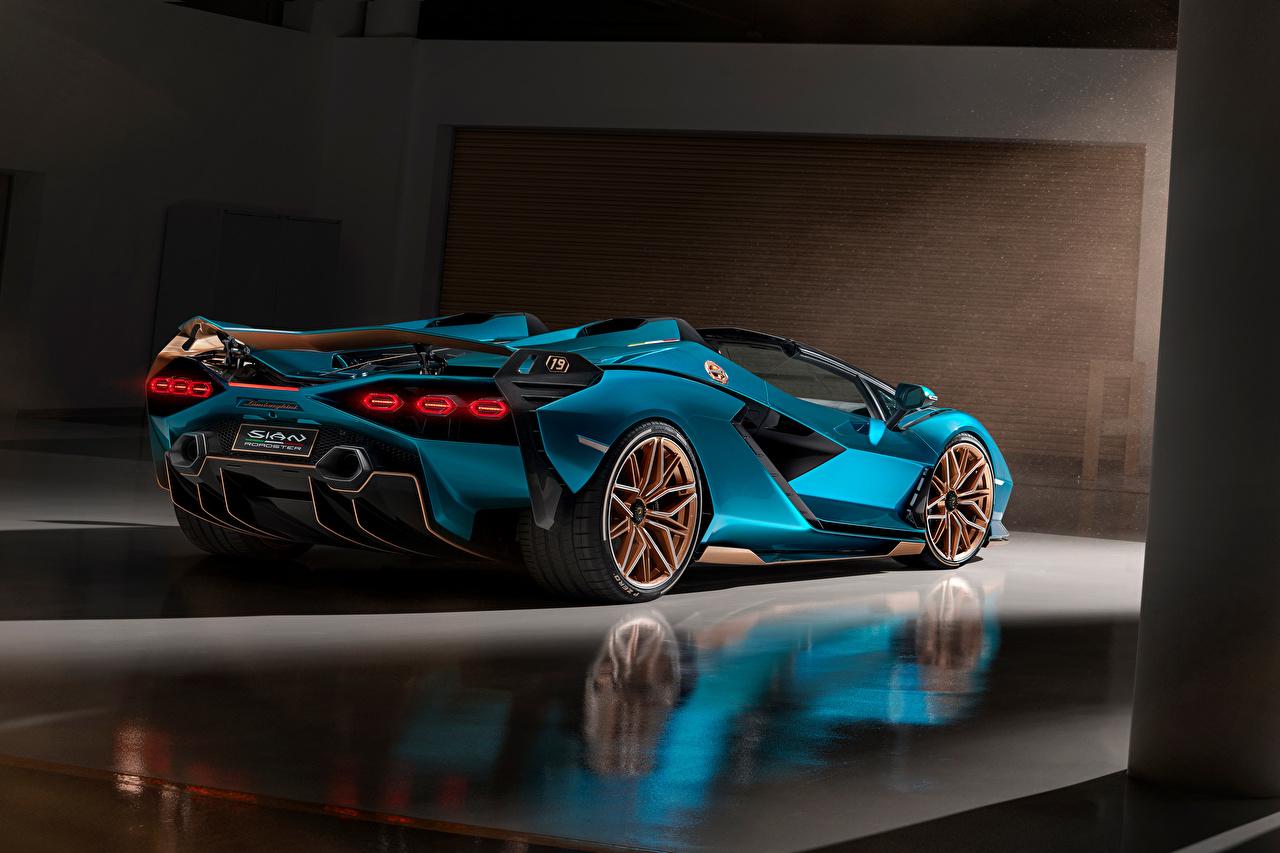 Image Lamborghini Roadster Light Blue Cars auto automobile