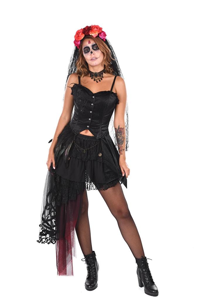 Bilder von Agatha Vega Nylonstrumpf Make Up Day of the Dead Boots junge frau Bein Hand Karneval und Maskerade  für Handy Schminke Mädchens junge Frauen