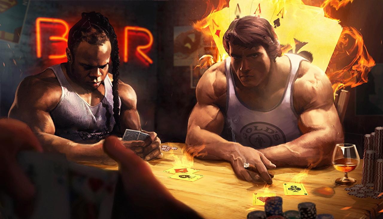 Bilder von Arnold Schwarzenegger Bar Mann Kai Greene Neger Tisch Spielkarte Gezeichnet Prominente