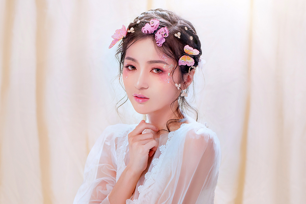 Desktop Wallpapers butterfly Makeup young woman Asian Glance Butterflies Girls female Asiatic Staring