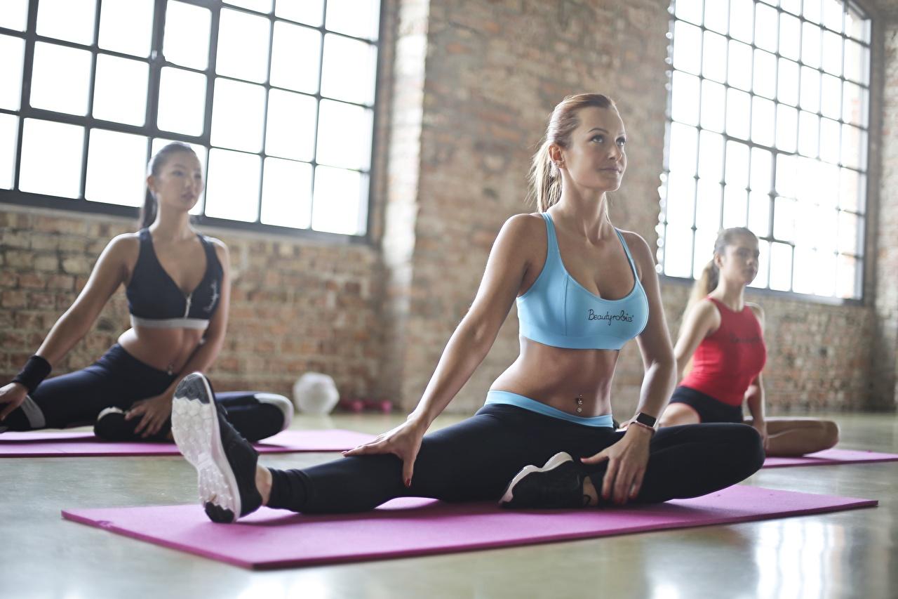Bilder Blondine Fitnessstudio Körperliche Aktivität Dehnübungen Fitness sportliches junge Frauen sitzt Drei 3 Blond Mädchen Turnhalle Trainieren Dehnübung Sport Mädchens junge frau sitzen Sitzend