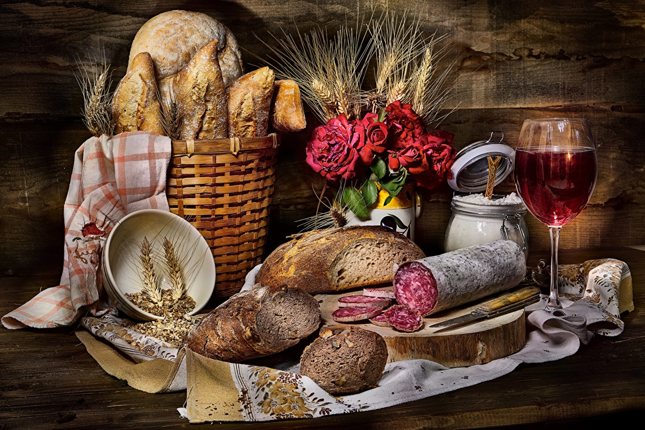 Images Tablecloth Sausage Bread Ear botany Wicker basket Food Stemware Still-life spike spikes