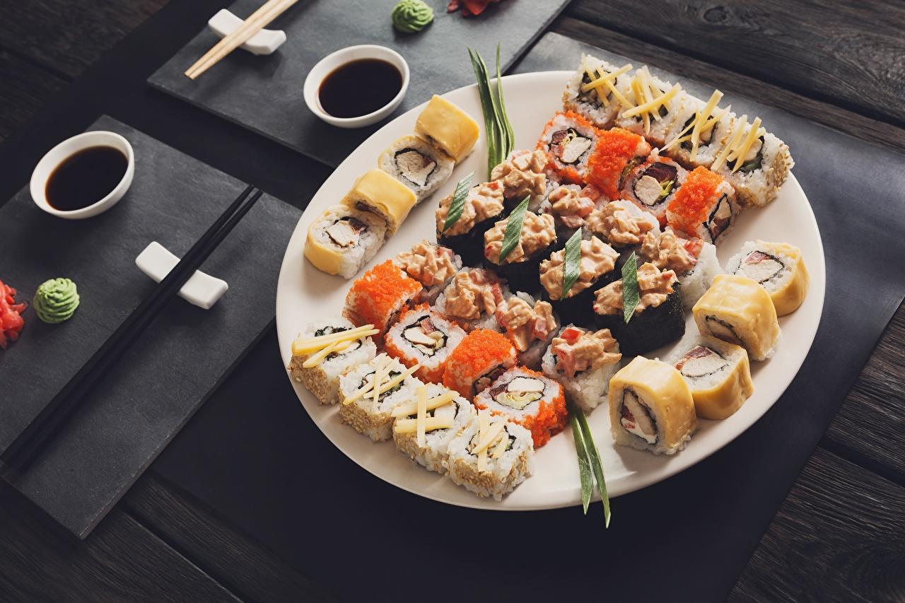 Images Sushi Food Plate Chopsticks