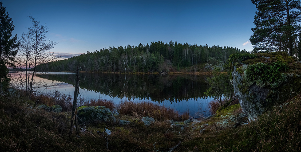 Wallpaper Sweden Grodinge Nature Forests Rivers Stones Evening