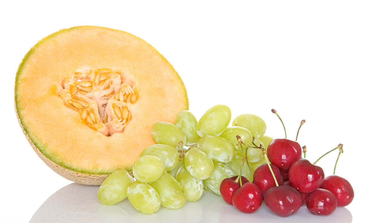 Wallpapers Melons Grapes Cherry Food White background