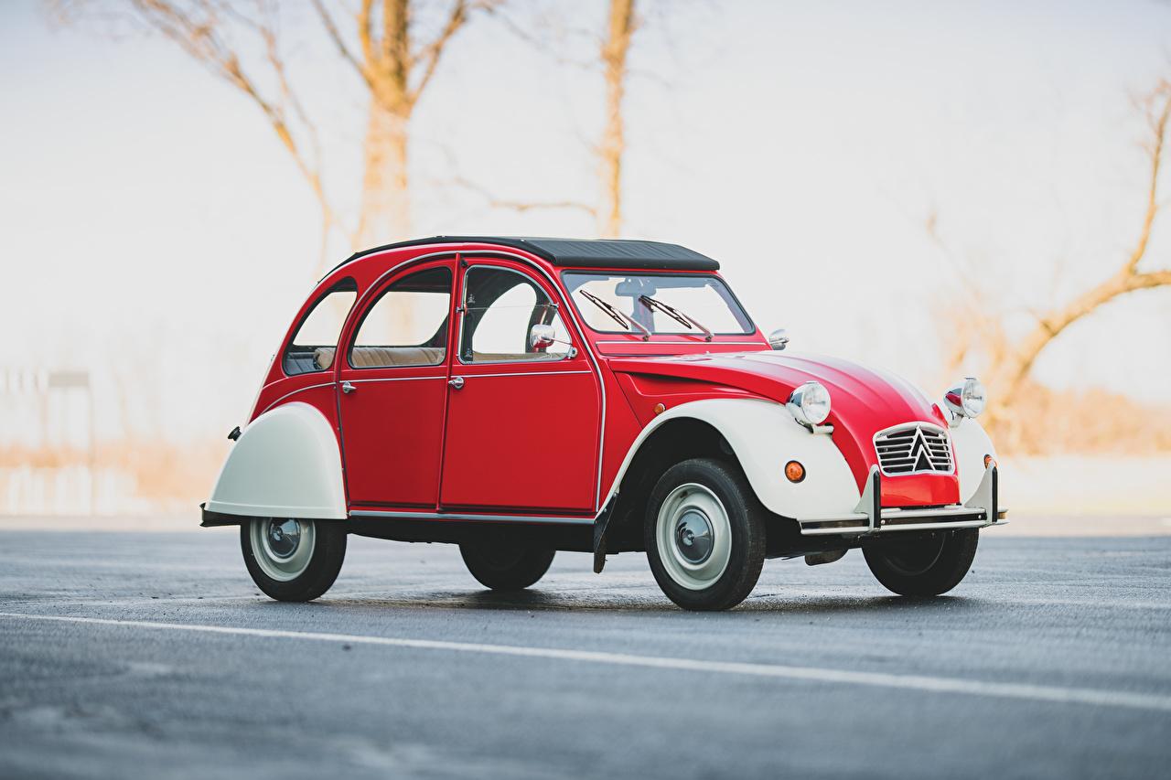 Wallpaper Citroen Red vintage Side Cars Retro antique auto automobile