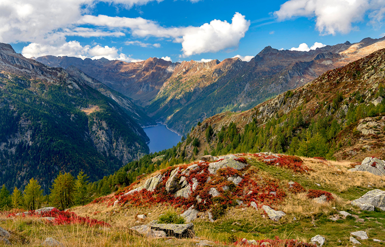 Wallpaper Alps Switzerland Ticino, Sambuco reservoir Nature mountain Scenery stone Clouds Mountains landscape photography Stones